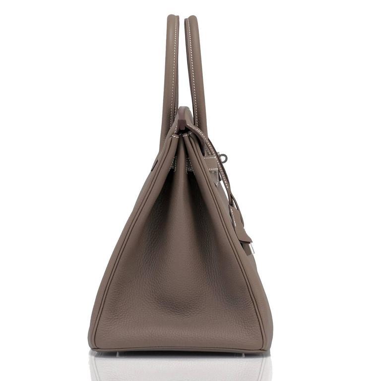 Hermes Etoupe Togo 35cm Birkin Palladium Hardware Tote Bag  For Sale 3