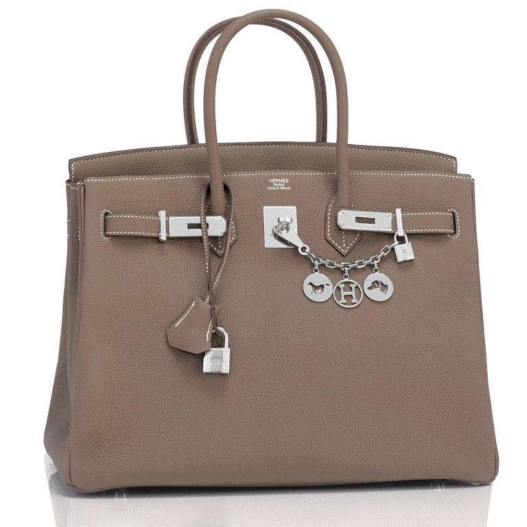 Hermes Etoupe Togo 35cm Birkin Palladium Hardware Tote Bag  In New Never_worn Condition For Sale In New York, NY