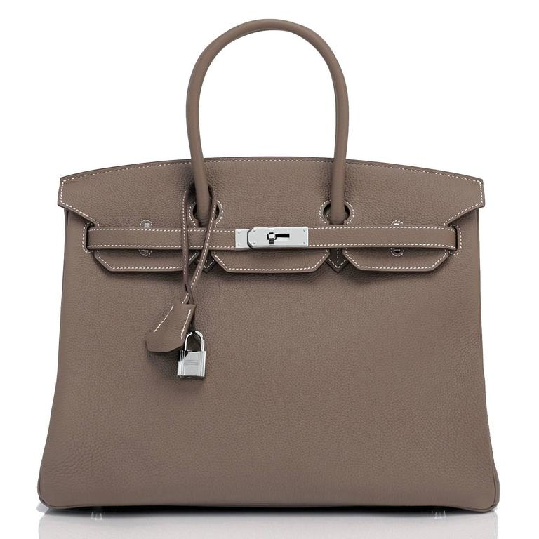 Women's or Men's Hermes Etoupe Togo 35cm Birkin Palladium Hardware Tote Bag  For Sale