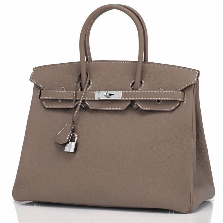 Hermes Etoupe Togo 35cm Birkin Palladium Hardware Tote Bag  For Sale 1