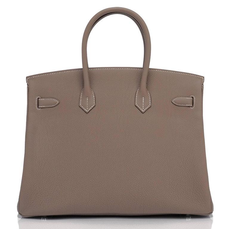 Hermes Etoupe Togo 35cm Birkin Palladium Hardware Tote Bag  For Sale 2