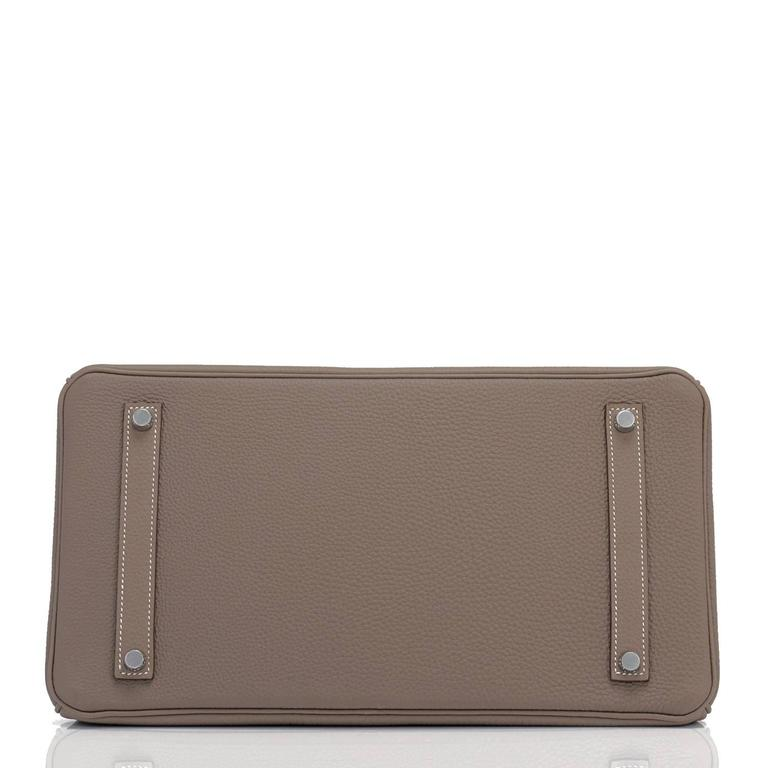 Hermes Etoupe Togo 35cm Birkin Palladium Hardware Tote Bag  For Sale 4