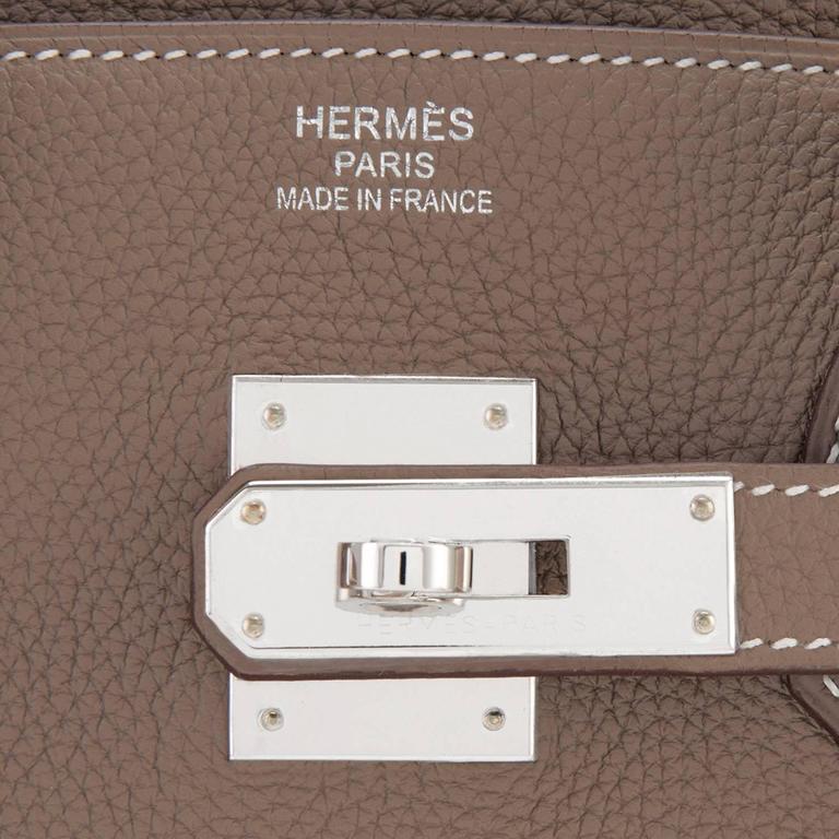 Hermes Etoupe Togo 35cm Birkin Palladium Hardware Tote Bag  For Sale 5