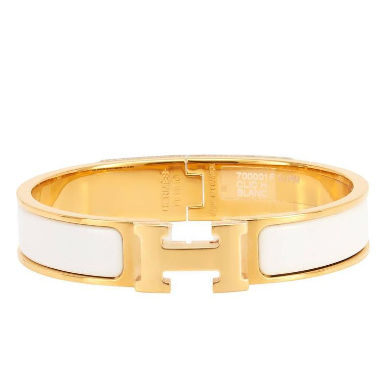 Hermes White Clic Clac H Yellow Gold Enamel Bangle Narrow Bracelet Pm For