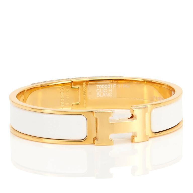 Hermes White Clic Clac H Yellow Gold Enamel Bangle Narrow Bracelet Pm Brand New In Box
