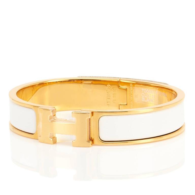 hermes white clic clac h yellow gold enamel bangle narrow bracelet pm at 1stdibs