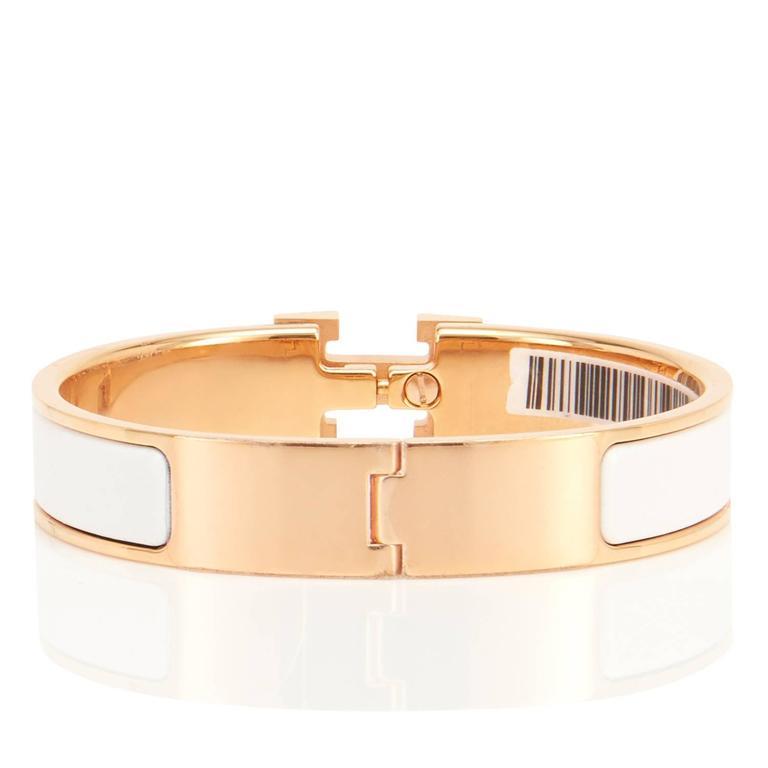 Hermes white clic clac h rose gold enamel bangle narrow for Housse clic clac new york