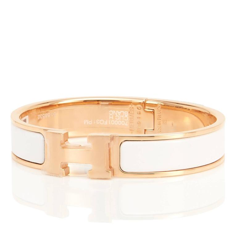 Hermes White Clic Clac H Rose Gold Enamel Bangle Narrow Bracelet Pm Brand New In Box
