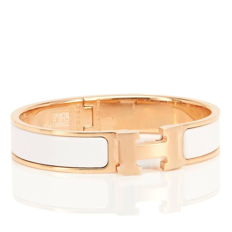49f66bc8111b Women s Hermes White Clic Clac H Rose Gold Enamel Bangle Narrow Bracelet PM  For Sale