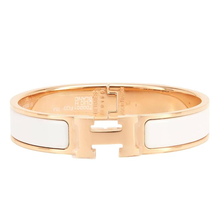 056679cd404 Hermes White Clic Clac H Rose Gold Enamel Bangle Narrow Bracelet PM For Sale