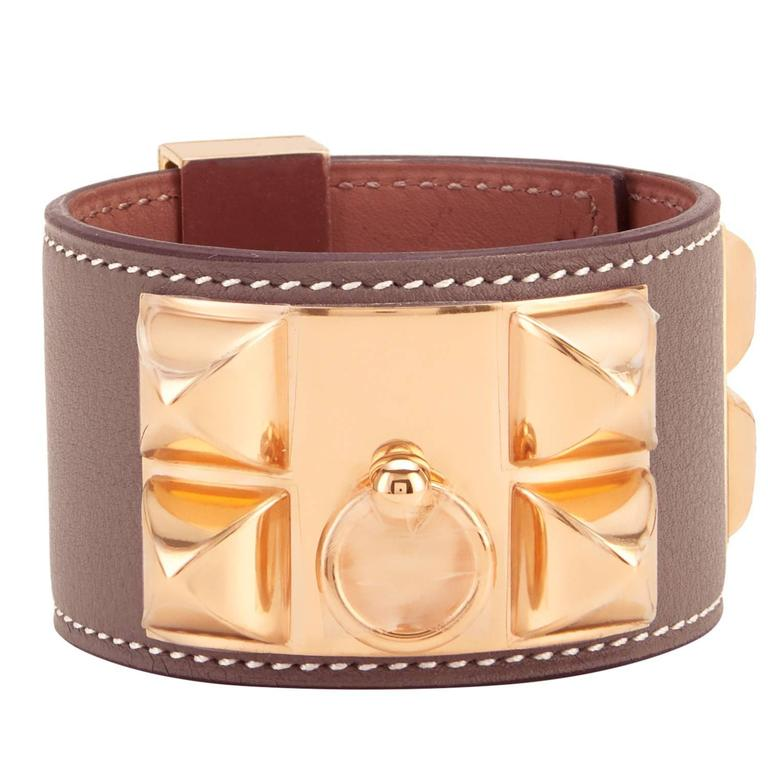 Hermes Etoupe Collier De Chien Cdc Taupe Rose Gold Hardware Cuff Bracelet For