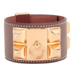 Hermes Etoupe Collier de Chien CDC Taupe Rose Gold Hardware Cuff Bracelet