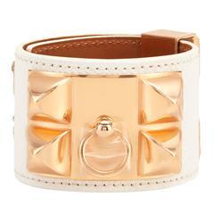 Hermes White CDC Collier de Chien Epsom Cuff Bracelet Gold Hardware