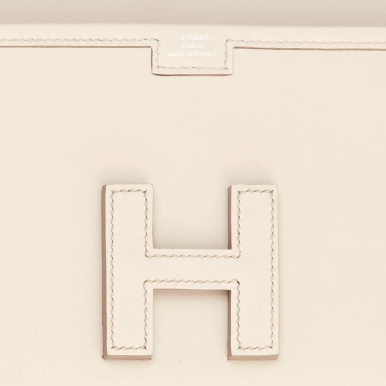 Hermes Beton Jige Elan 29cm Swift Off White Clutch Bag  For Sale 3
