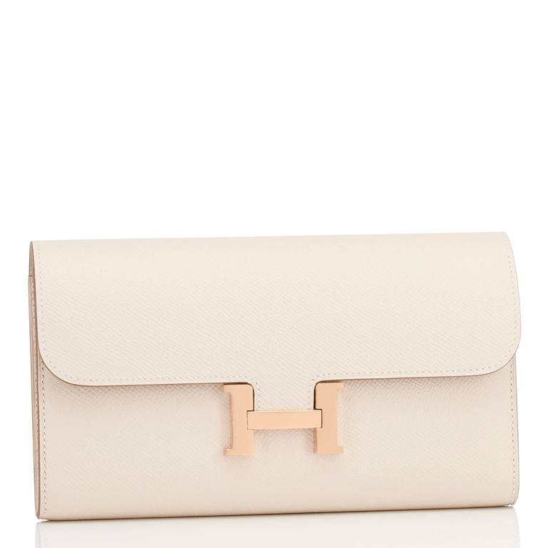 Hermes Craie Off White Constance Wallet Clutch Rose Gold Hardware 2
