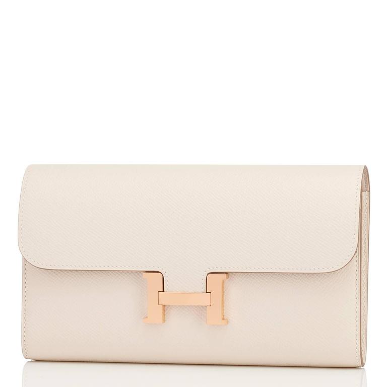 Hermes Craie Off White Constance Wallet Clutch Rose Gold Hardware 4