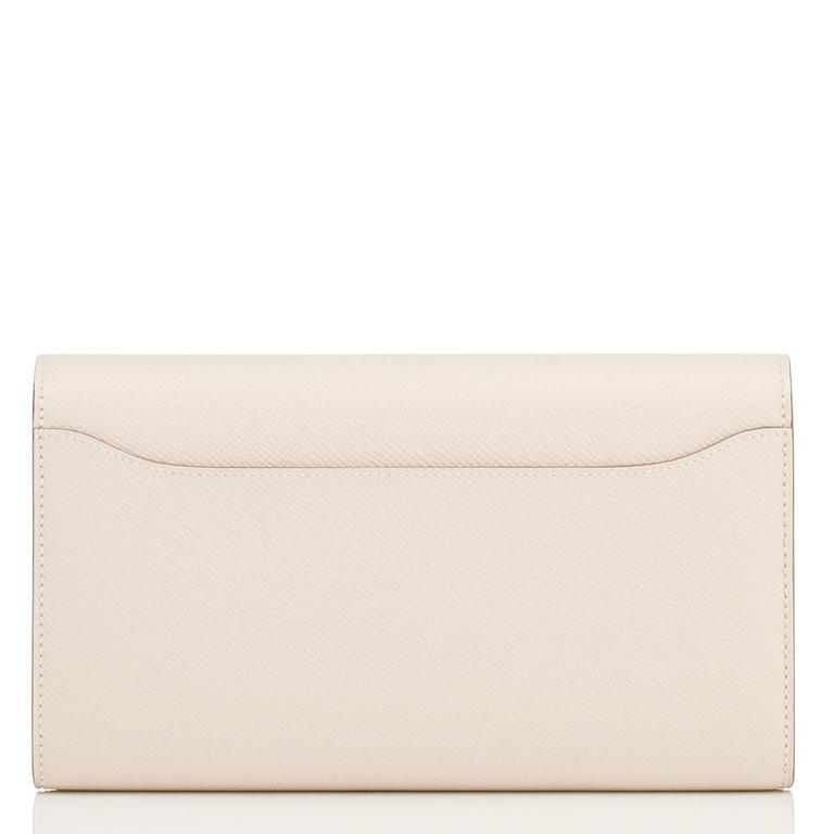 Hermes Craie Off White Constance Wallet Clutch Rose Gold Hardware 3