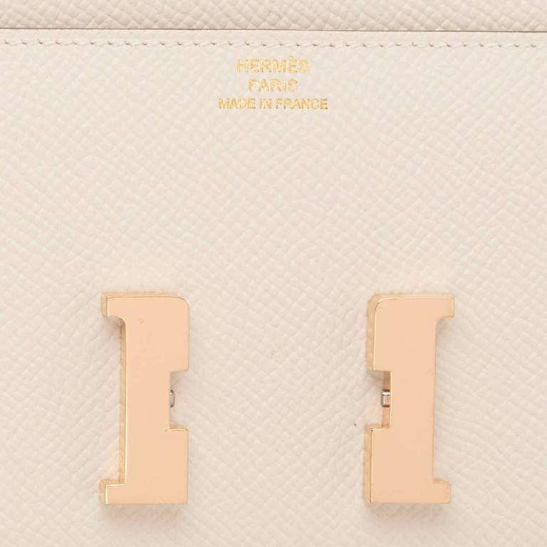 Hermes Craie Off White Constance Wallet Clutch Rose Gold Hardware 7