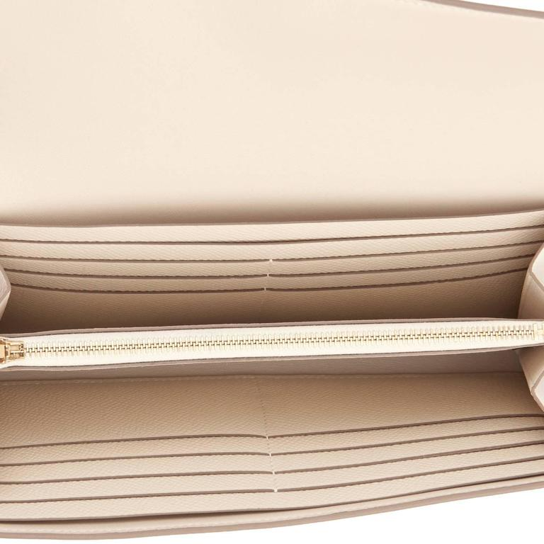 Hermes Craie Off White Constance Wallet Clutch Rose Gold Hardware 6