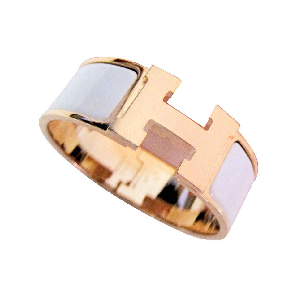 hermes white with rose gold clic clac enamel bracelet pm. Black Bedroom Furniture Sets. Home Design Ideas