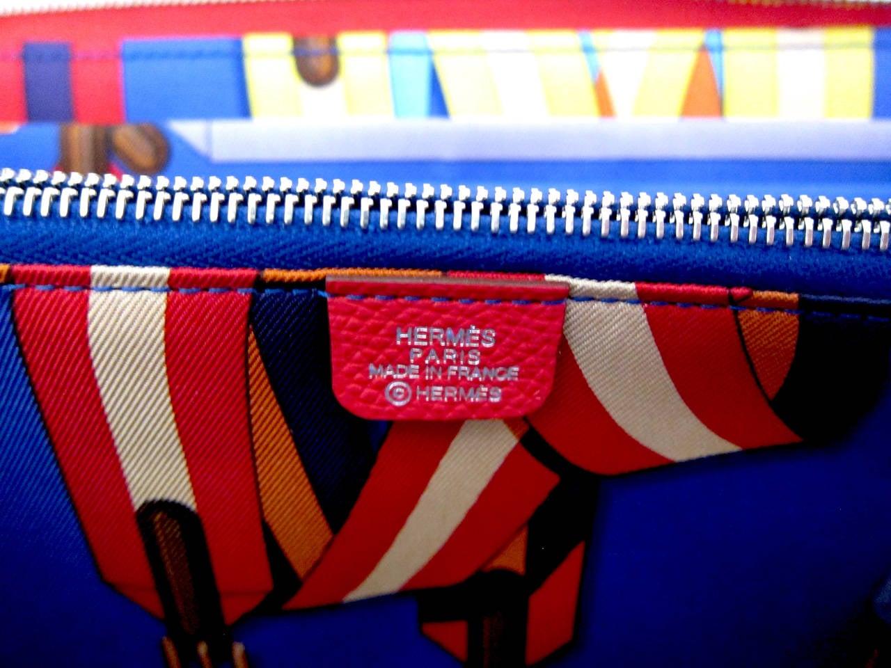 h hermes purses - hermes silk\u0026#39;in bougainvillea red/electric blue wallet