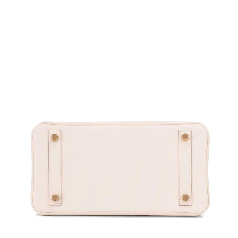 Hermes Craie Baby Birkin 25cm Off White Swift Gold Hardware A Stamp For Sale 1