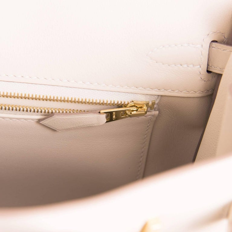 Hermes Craie Baby Birkin 25cm Off White Swift Gold Hardware A Stamp For Sale 4