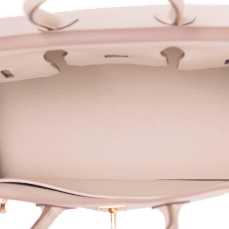 Hermes Craie Baby Birkin 25cm Off White Swift Gold Hardware A Stamp For Sale 3