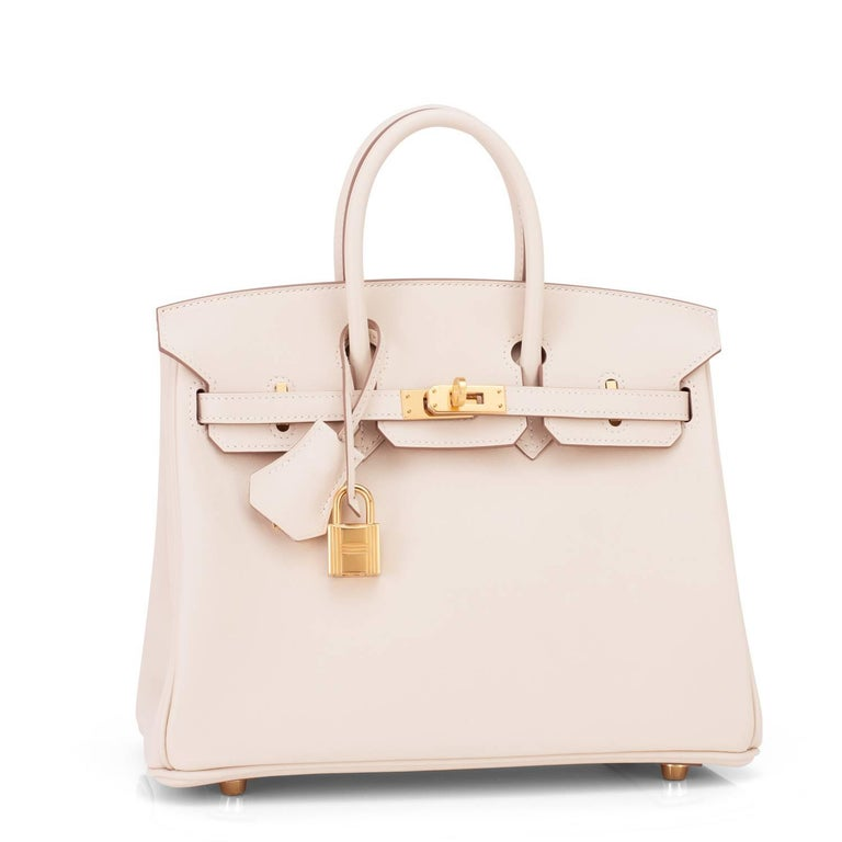 Hermes Craie Baby Birkin 25cm Off White Swift Gold Hardware A Stamp In New never worn Condition For Sale In New York, NY