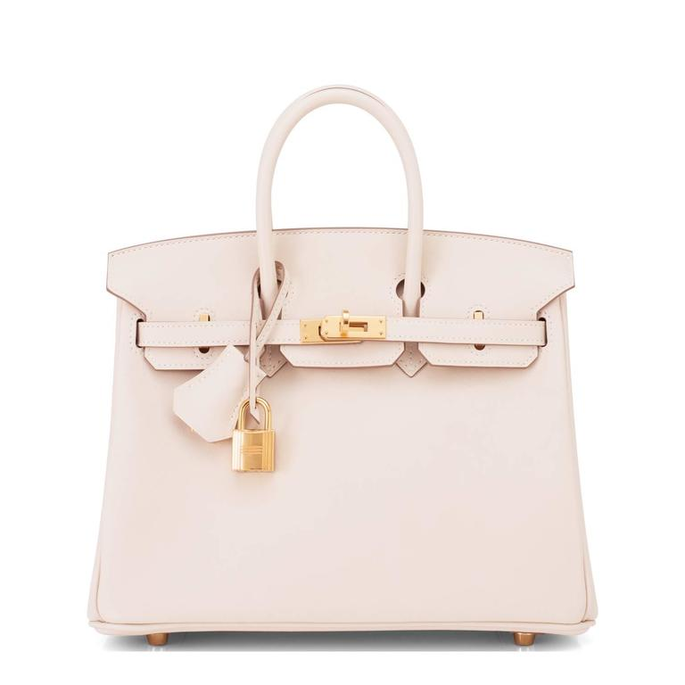 22f9fceba774 Beige Hermes Craie 25cm Off White Swift Gold Hardware A Stamp Baby Birkin  Bag For Sale
