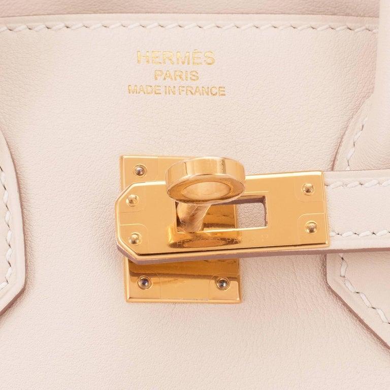 Hermes Craie Baby Birkin 25cm Off White Swift Gold Hardware A Stamp For Sale 5