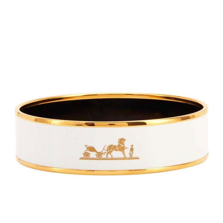 hermes white caleche gold enamel 70 bangle bracelet