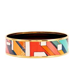 Hermes Orange Futurisme Printed Gold Enamel Bangle 70 Bracelet