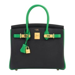 Hermes HSS Bamboo And Black Bi-Color 30cm Birkin Bag SO Gold Hardware Exclusive