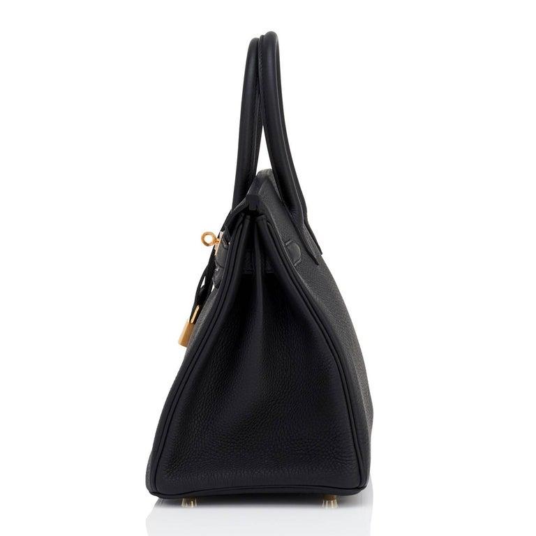 Hermes Black 30cm Birkin Bag Togo Gold Hardware A Stamp 3