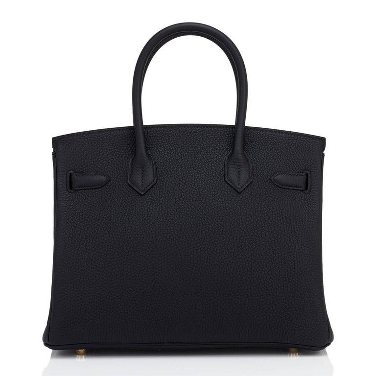 Hermes Black 30cm Birkin Bag Togo Gold Hardware A Stamp 2