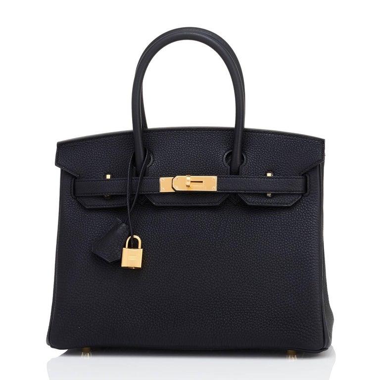 Hermes Black 30cm Birkin Bag Togo Gold Hardware A Stamp In New Condition In New York, NY
