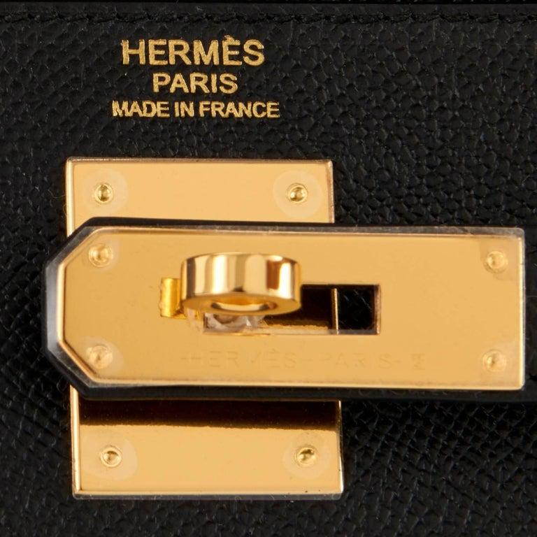 Hermes Kelly 32cm Black Epsom Sellier Gold Hardware Shoulder Bag For Sale 6