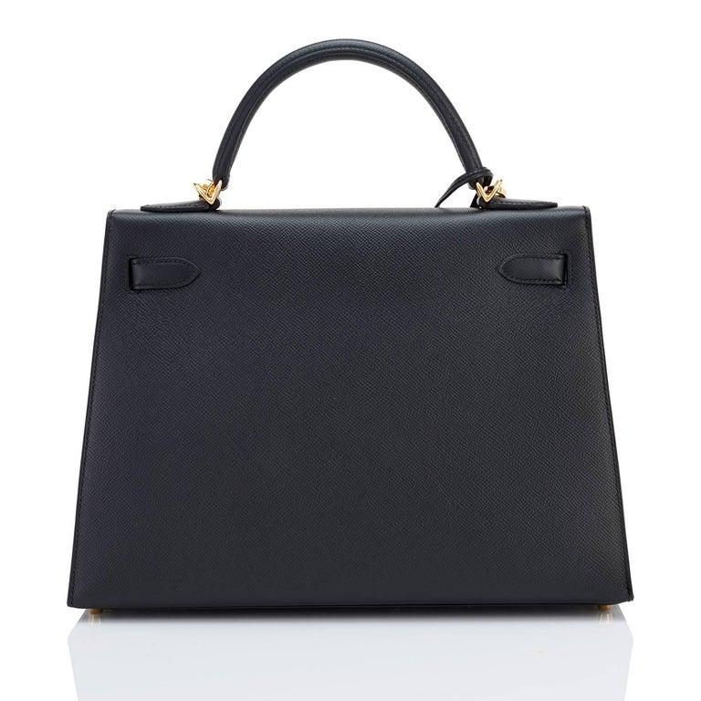 Hermes Kelly 32cm Black Epsom Sellier Gold Hardware Shoulder Bag For Sale 3