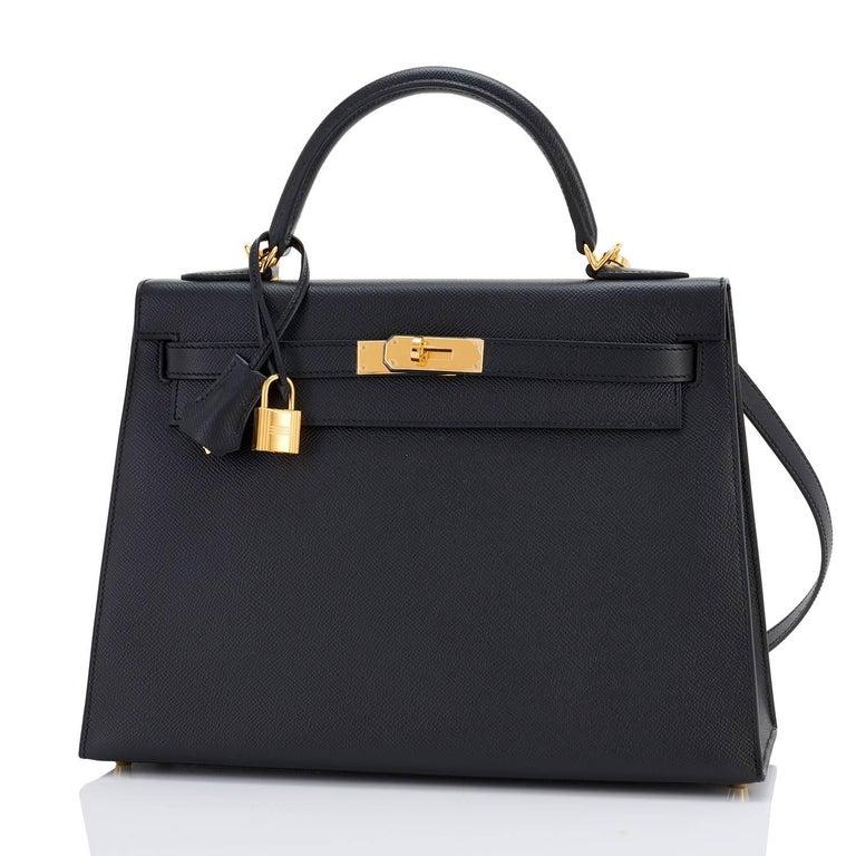 Hermes Kelly 32cm Black Epsom Sellier Gold Hardware Shoulder Bag For Sale 1