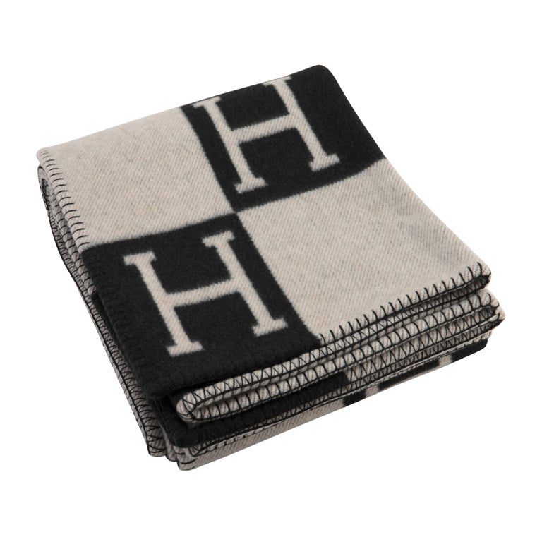 Hermes Avalon Merino Wool Cashmere Throw Blanket Ecru Gris ...