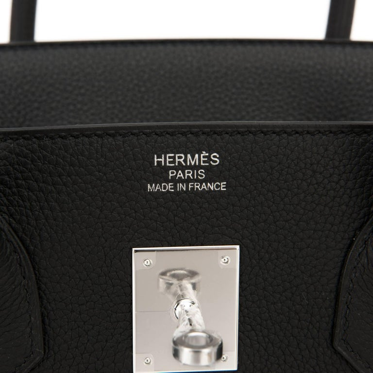 "Hermes Black ""Verso"" Blue Agate 35cm Togo Birkin VIP Limited Edition A Stamp 10"