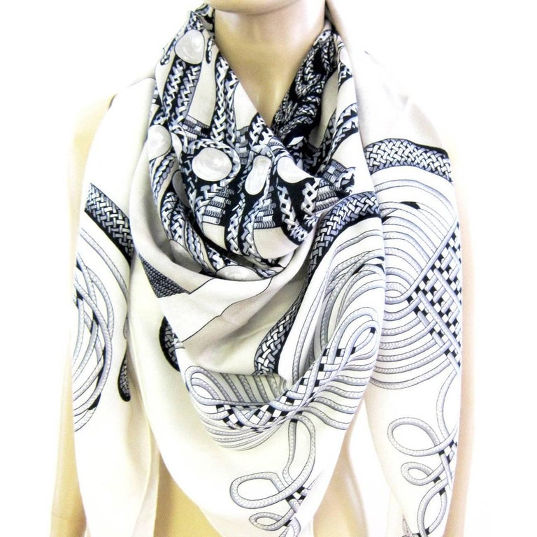 Hermes Brandebourgs Black White Putty Grey Giant Scarf Cashmere Silk Shawl 2