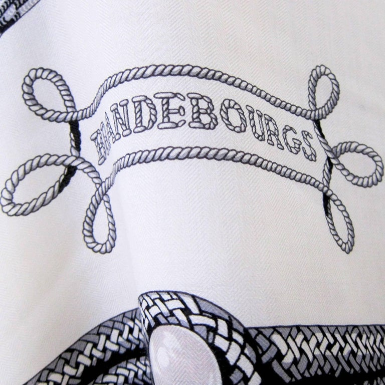 Hermes Brandebourgs Black White Putty Grey Giant Scarf Cashmere Silk Shawl 6