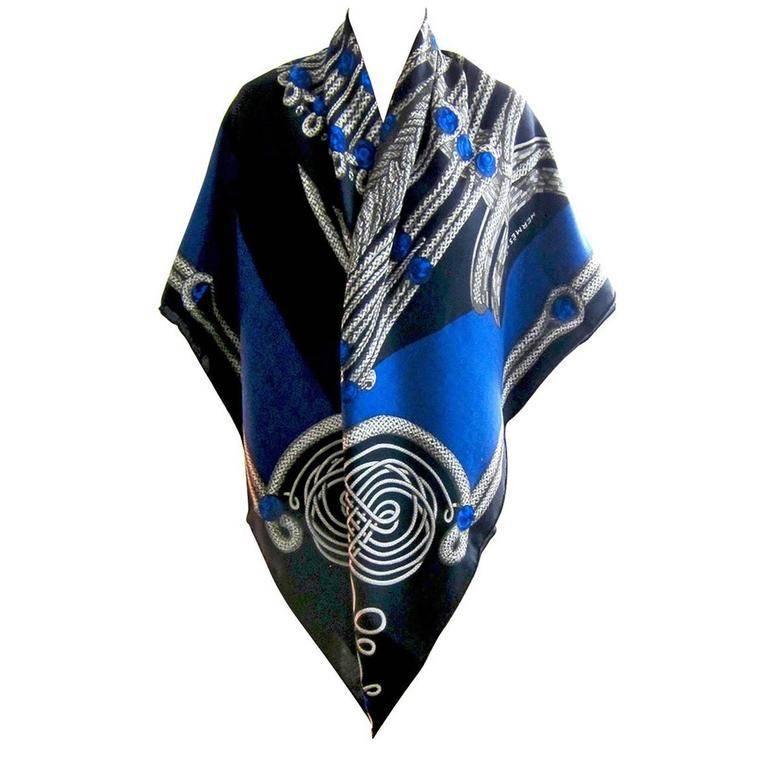 Hermes Brandebourgs Marine Blue Black Cashmere Silk Shawl GM 140cm Rare For Sale