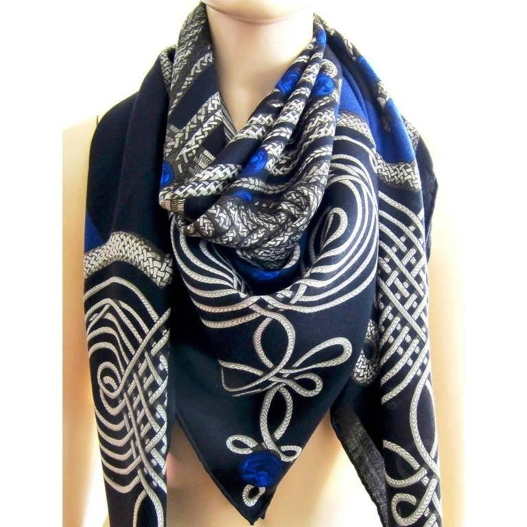 Hermes Brandebourgs Marine Blue Black Cashmere Silk Shawl GM 140cm Rare For Sale 3