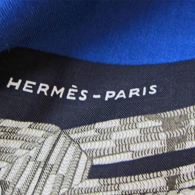 Hermes Brandebourgs Marine Blue Black Cashmere Silk Shawl GM 140cm Rare For Sale 2