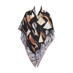 Hermes Tous Les Bateaux du Monde Noir Cashmere Silk Shawl Scarf Magnificent