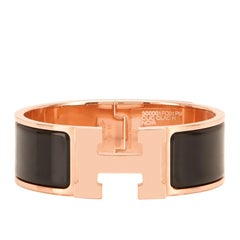 Hermes Black Clic Clac Rose Gold Enamel Bangle Wide Bracelet PM