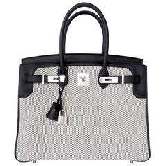 Hermes Black Swift Leather Criss Cross Ecru Graphite Toile 35cm Birkin